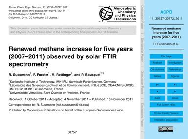 Renewed Methane Increase for Five Years ... by Sussmann, R.