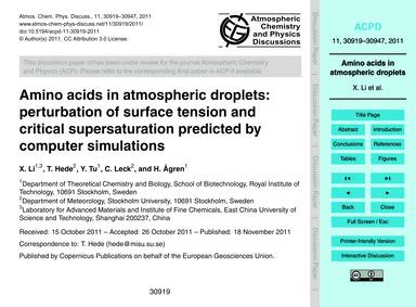 Amino Acids in Atmospheric Droplets: Per... by Li, X.