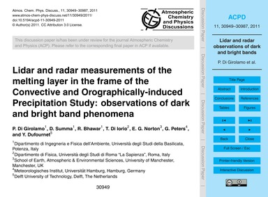 Lidar and Radar Measurements of the Melt... by Di Girolamo, P.