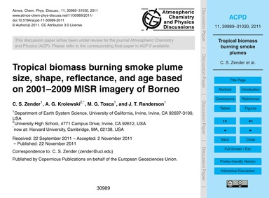 Tropical Biomass Burning Smoke Plume Siz... by Zender, C. S.