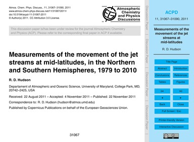 Measurements of the Movement of the Jet ... by Hudson, R. D.