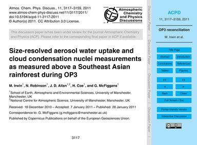 Size-resolved Aerosol Water Uptake and C... by Irwin, M.