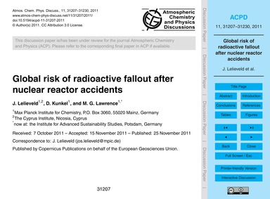 Global Risk of Radioactive Fallout After... by Lelieveld, J.