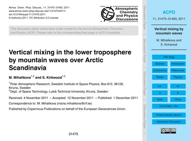 Vertical Mixing in the Lower Troposphere... by Mihalikova, M.