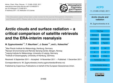 Arctic Clouds and Surface Radiation – a ... by Zygmuntowska, M.