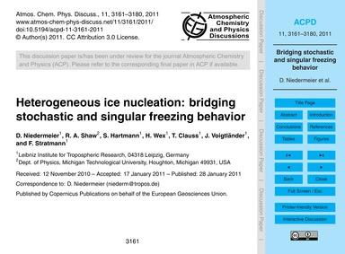 Heterogeneous Ice Nucleation: Bridging S... by Niedermeier, D.