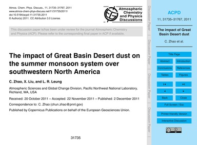 The Impact of Great Basin Desert Dust on... by Zhao, C.