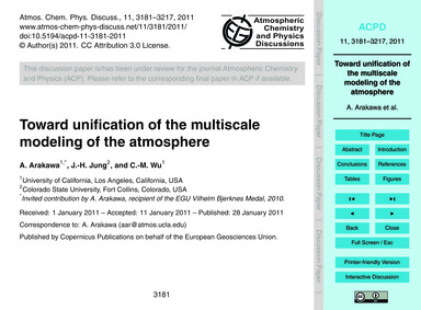 Toward Unification of the Multiscale Mod... by Arakawa, A.