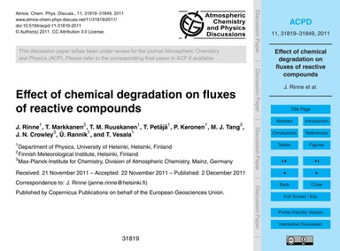 Effect of Chemical Degradation on Fluxes... by Rinne, J.