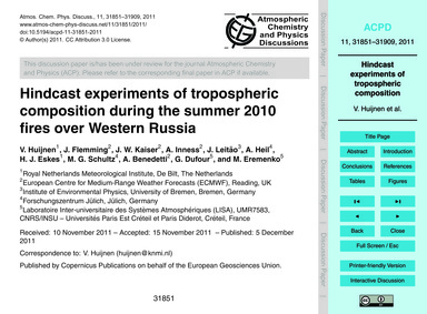 Hindcast Experiments of Tropospheric Com... by Huijnen, V.