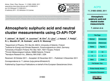 Atmospheric Sulphuric Acid and Neutral C... by Jokinen, T.