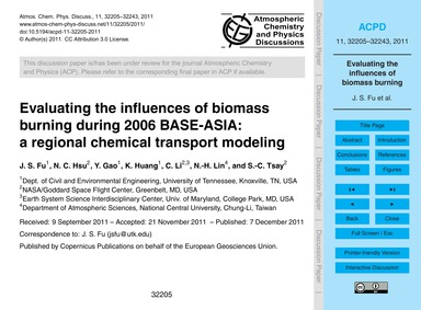 Evaluating the Influences of Biomass Bur... by Fu, J. S.