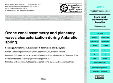 Ozone Zonal Asymmetry and Planetary Wave... by Ialongo, I.