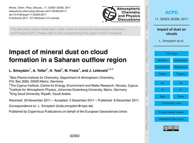 Impact of Mineral Dust on Cloud Formatio... by Smoydzin, L.