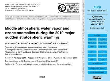 Middle Atmospheric Water Vapor and Ozone... by Scheiben, D.