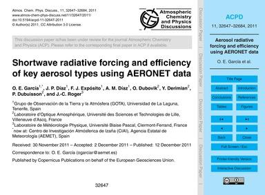 Shortwave Radiative Forcing and Efficien... by García, O. E.
