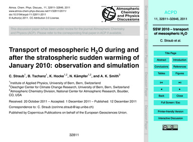 Transport of Mesospheric H2O During and ... by Straub, C.