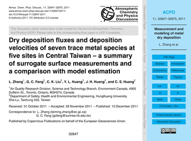 Dry Deposition Fluxes and Deposition Vel... by Zhang, L.