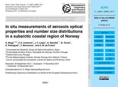 In Situ Measurements of Aerosols Optical... by Mogo, S.