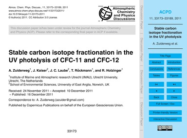 Stable Carbon Isotope Fractionation in t... by Zuiderweg, A.