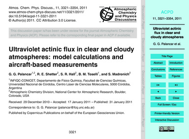 Ultraviolet Actinic Flux in Clear and Cl... by Palancar, G. G.