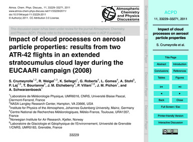 Impact of Cloud Processes on Aerosol Par... by Crumeyrolle, S.