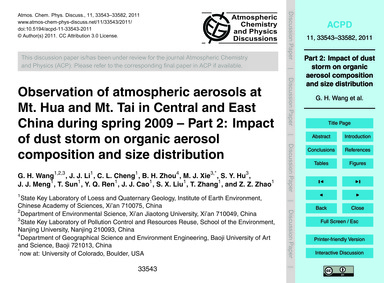 Observation of Atmospheric Aerosols at M... by Wang, G. H.