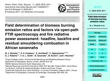 Field Determination of Biomass Burning E... by Wooster, M. J.