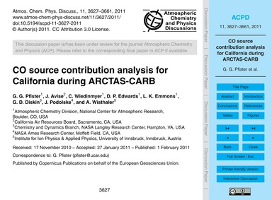 Co Source Contribution Analysis for Cali... by Pfister, G. G.
