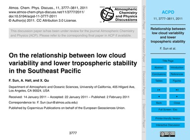 On the Relationship Between Low Cloud Va... by Sun, F.