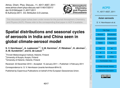 Spatial Distributions and Seasonal Cycle... by Henriksson, S. V.