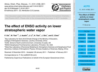 The Effect of Enso Activity on Lower Str... by Xie, F.