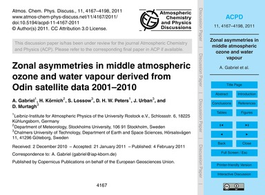 Zonal Asymmetries in Middle Atmospheric ... by Gabriel, A.