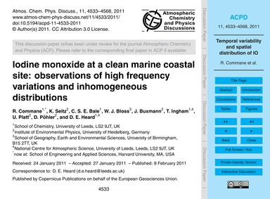 Iodine Monoxide at a Clean Marine Coasta... by Commane, R.