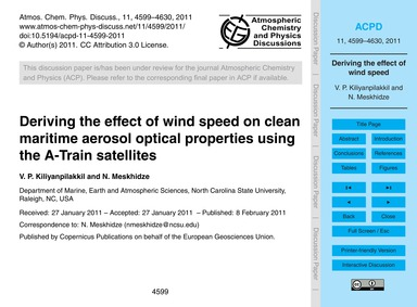 Deriving the Effect of Wind Speed on Cle... by Kiliyanpilakkil, V. P.