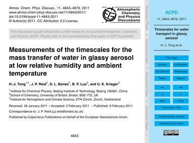 Measurements of the Timescales for the M... by Tong, H.-j.
