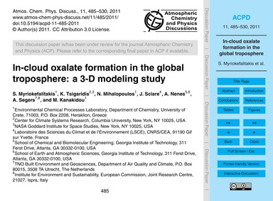 In-cloud Oxalate Formation in the Global... by Myriokefalitakis, S.
