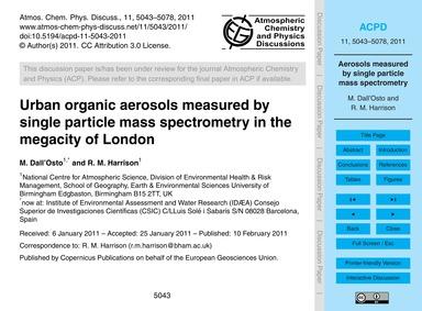 Urban Organic Aerosols Measured by Singl... by Dall'Osto, M.