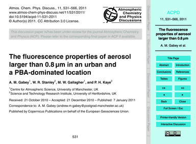 The Fluorescence Properties of Aerosol L... by Gabey, A. M.
