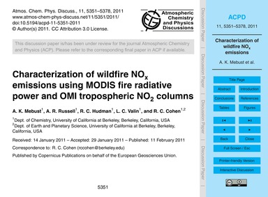 Characterization of Wildfire NoX Emissio... by Mebust, A. K.