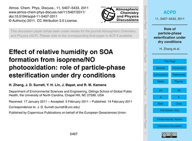 Effect of Relative Humidity on Soa Forma... by Zhang, H.