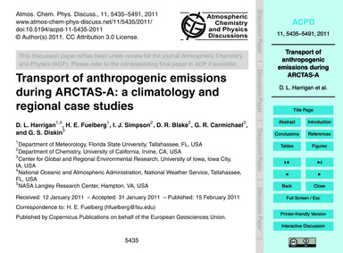 Transport of Anthropogenic Emissions Dur... by Harrigan, D. L.