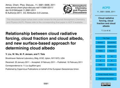 Relationship Between Cloud Radiative For... by Liu, Y.