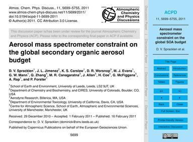 Aerosol Mass Spectrometer Constraint on ... by Spracklen, D. V.