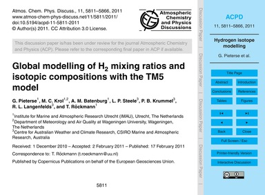 Global Modelling of H2 Mixing Ratios and... by Pieterse, G.