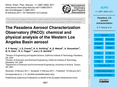 The Pasadena Aerosol Characterization Ob... by Hersey, S. P.