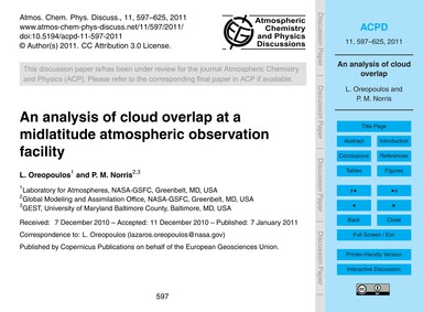 An Analysis of Cloud Overlap at a Midlat... by Oreopoulos, L.