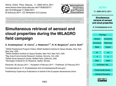 Simultaneous Retrieval of Aerosol and Cl... by Knobelspiesse, K.