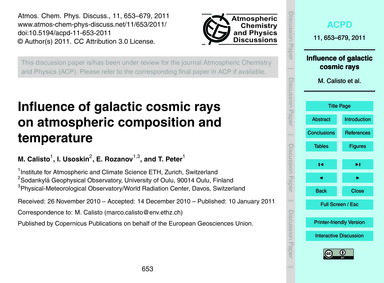Influence of Galactic Cosmic Rays on Atm... by Calisto, M.