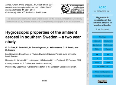Hygroscopic Properties of the Ambient Ae... by Fors, E. O.